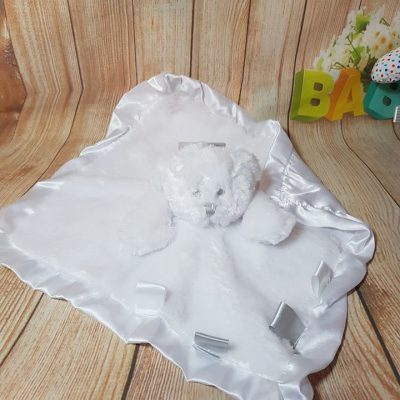white teddy taggie comfort blanket