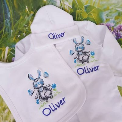 bunny bib , babygro and hat set