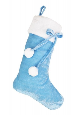 BABY BLUE POM POM STOCKING