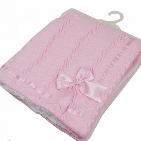 Chevron knit wrap with satin bow and trim and sherpa back Pink 75*90cm